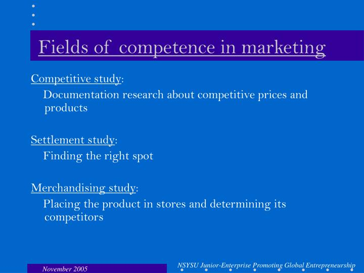 Fields of competence in marketing