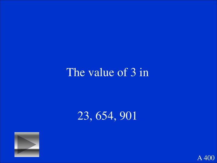 The value of 3 in
