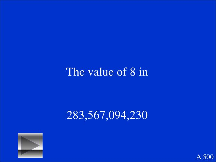 The value of 8 in