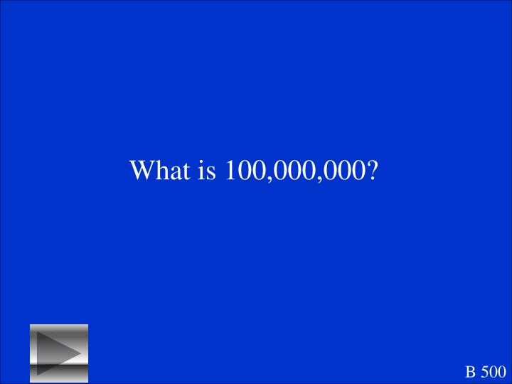 What is 100,000,000?