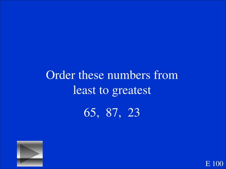 Order these numbers from least to greatest