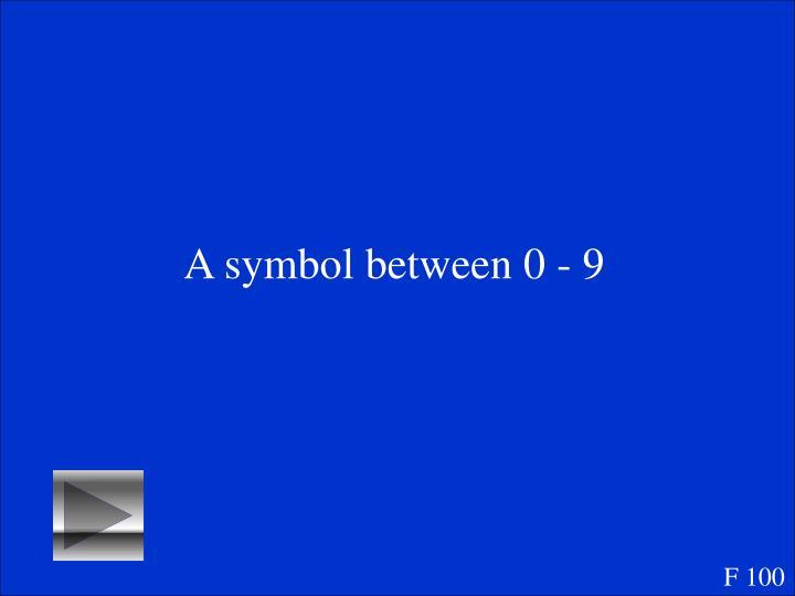 A symbol between 0 - 9