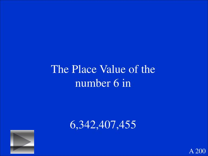 The Place Value of the number 6 in