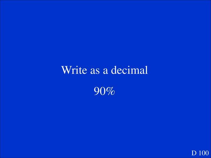 Write as a decimal