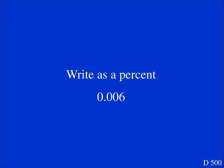 Write as a percent