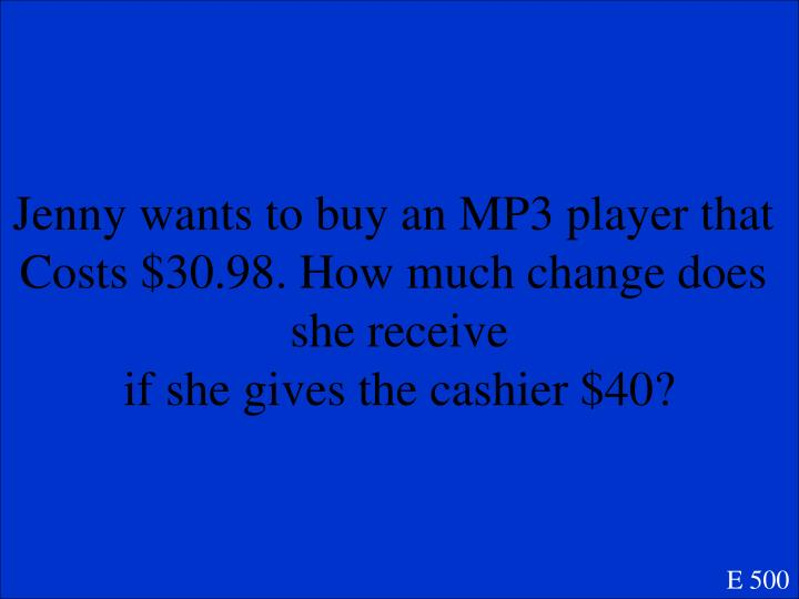 Jenny wants to buy an MP3 player that