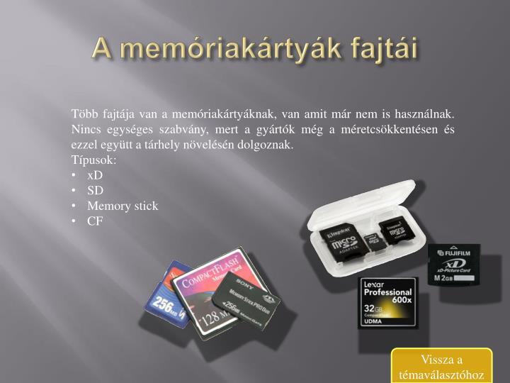 A memóriakártyák fajtái
