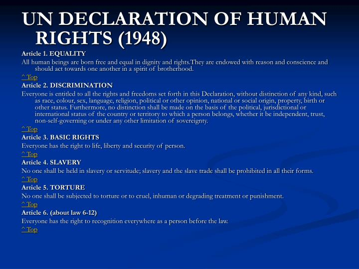 UN DECLARATION OF HUMAN RIGHTS (1948)