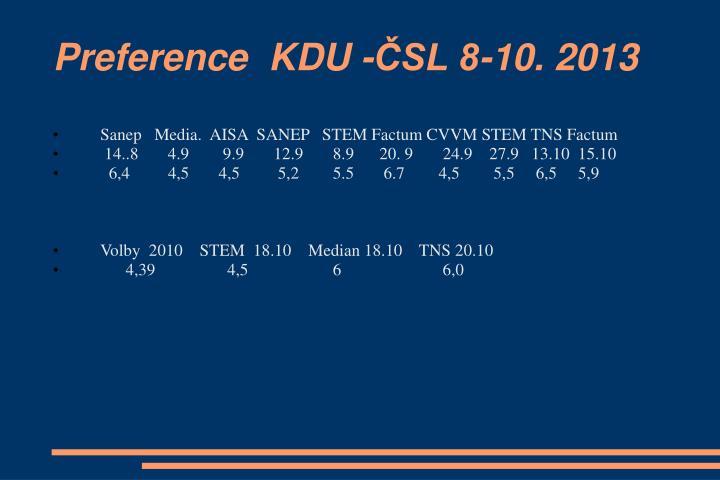 Preference  KDU -ČSL 8-10. 2013