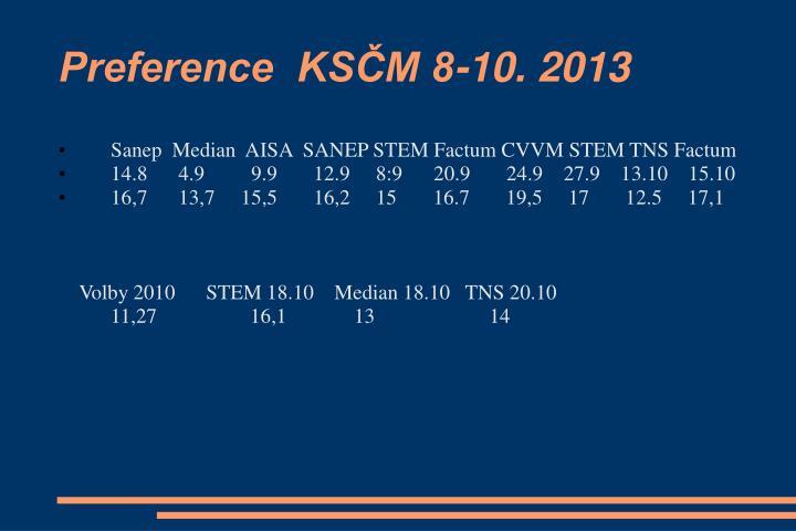 Preference  KSČM 8-10. 2013