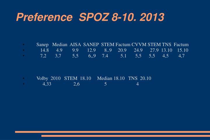 Preference  SPOZ 8-10. 2013