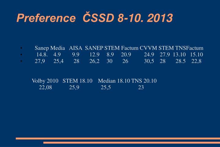 Preference  ČSSD 8-10. 2013