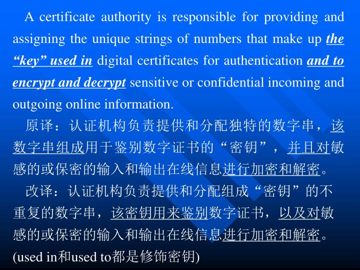A certificate authority is responsible for providing and assigning the unique strings of numbers that make up