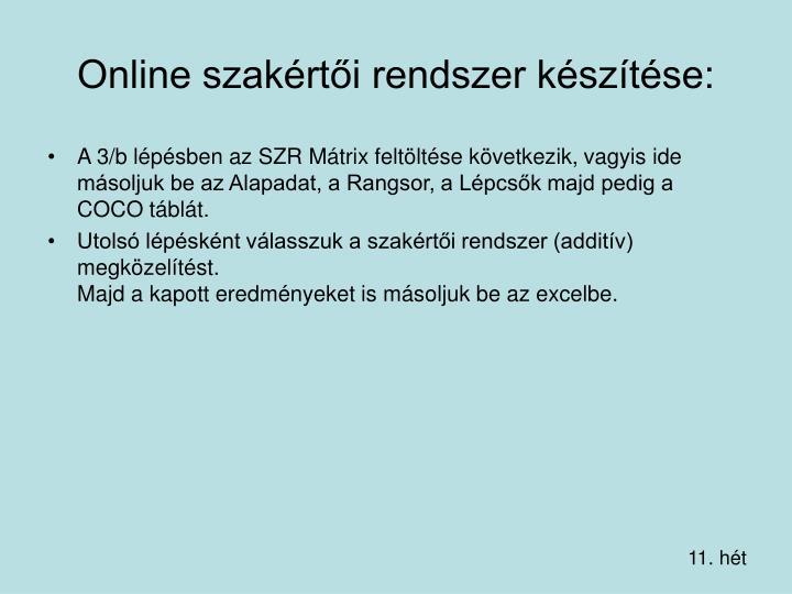 Online szakértői rendszer készítése: