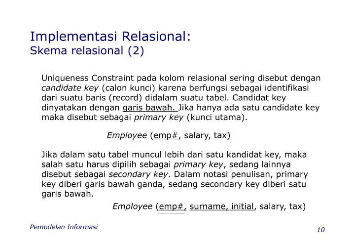 Implementasi Relasional: