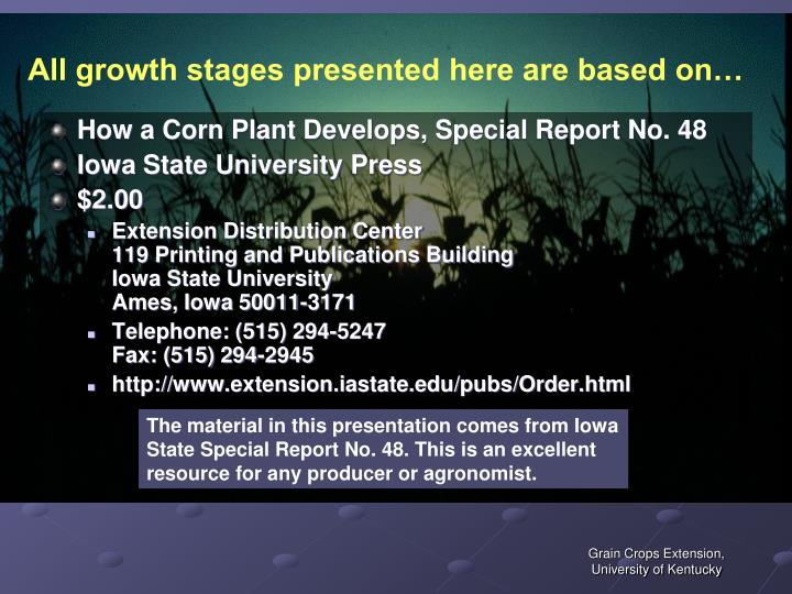 All growth stages presented here are based on…