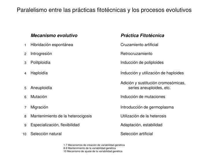 Paralelismo entre las prácticas fitotécnicas y los procesos evolutivos