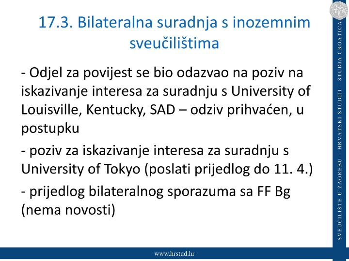 17.3. Bilateralna suradnja s inozemnim sveučilištima