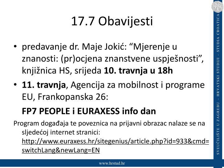 17.7 Obavijesti