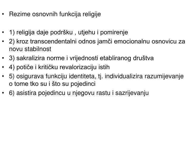 Rezime osnovnih funkcija religije
