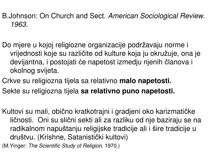 B.Johnson: On Church and Sect.
