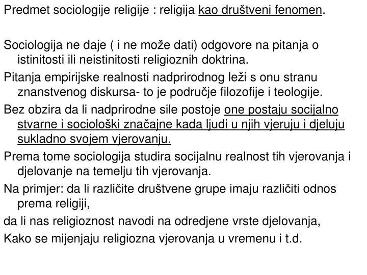 Predmet sociologije religije : religija