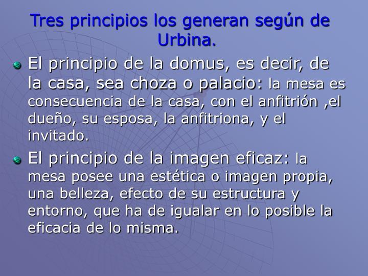 Tres principios los generan según de Urbina