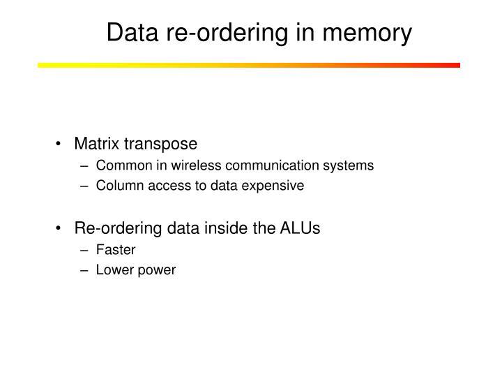 Data re-ordering in memory