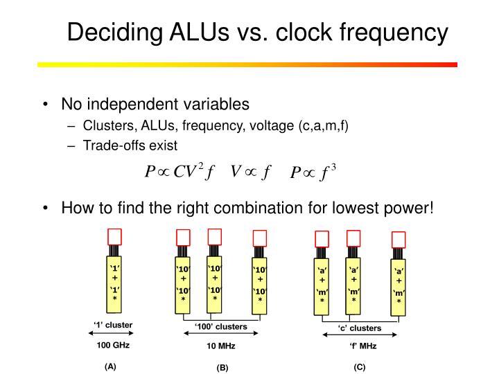 Deciding ALUs vs. clock frequency