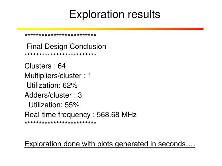 Exploration results