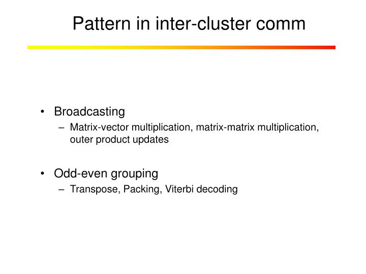 Pattern in inter-cluster comm