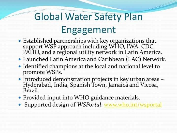 Global Water Safety Plan Engagement