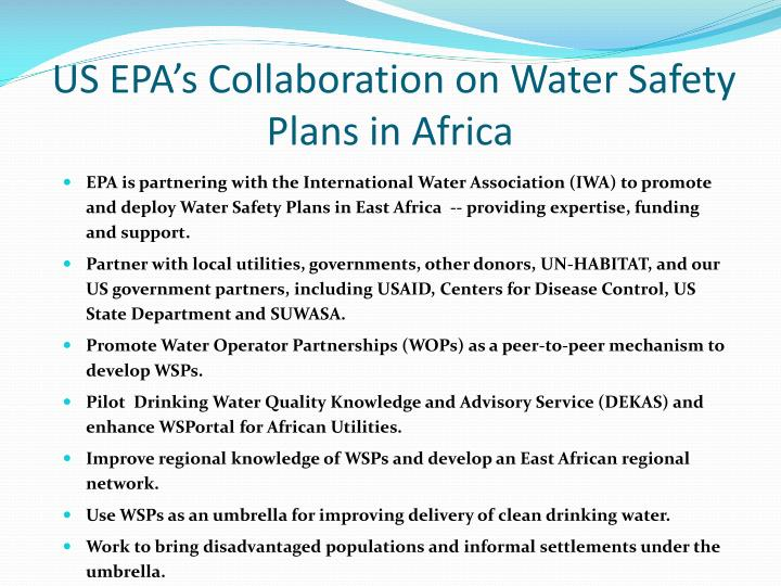 US EPA's Collaboration on Water Safety Plans in Africa