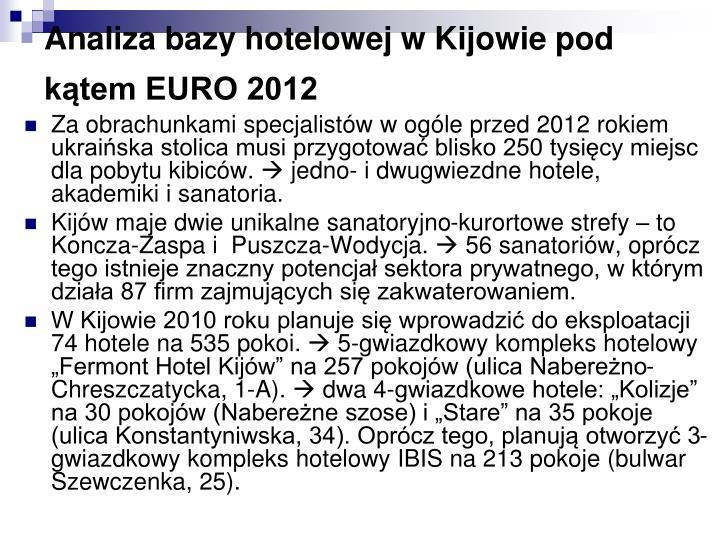 Analiza bazy hotelowej w Kijowie pod kątem EURO 2012