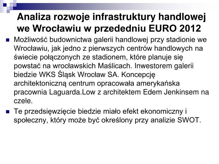 Analiza rozwoje infrastruktury handlowej we Wrocławiu w przededniu EURO 2012