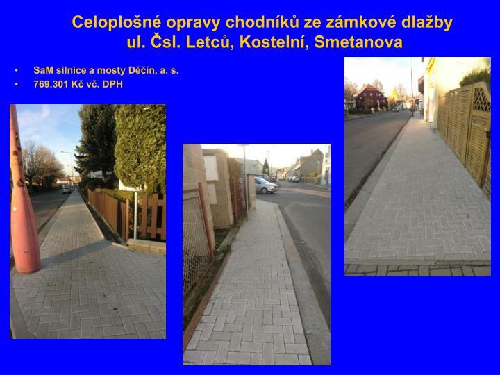 Celoplošné opravy chodníků ze zámkové dlažby