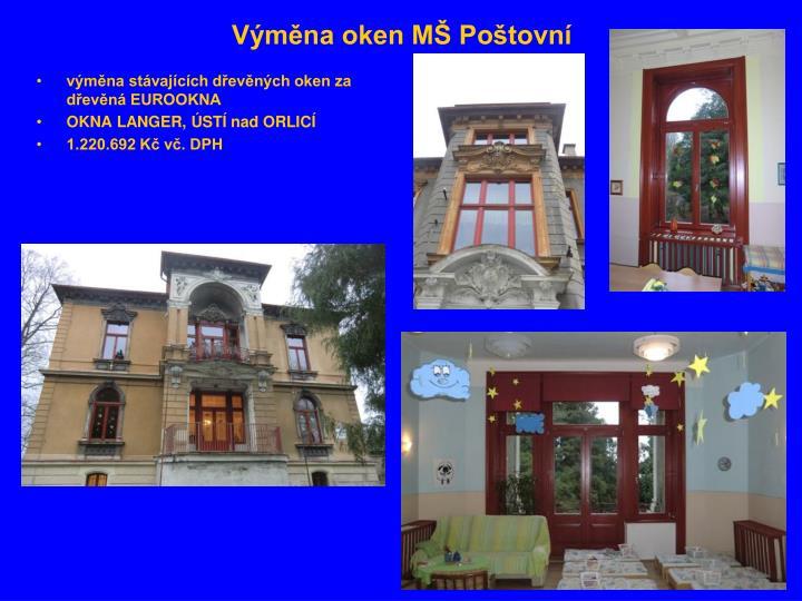 Výměna oken MŠ Poštovní