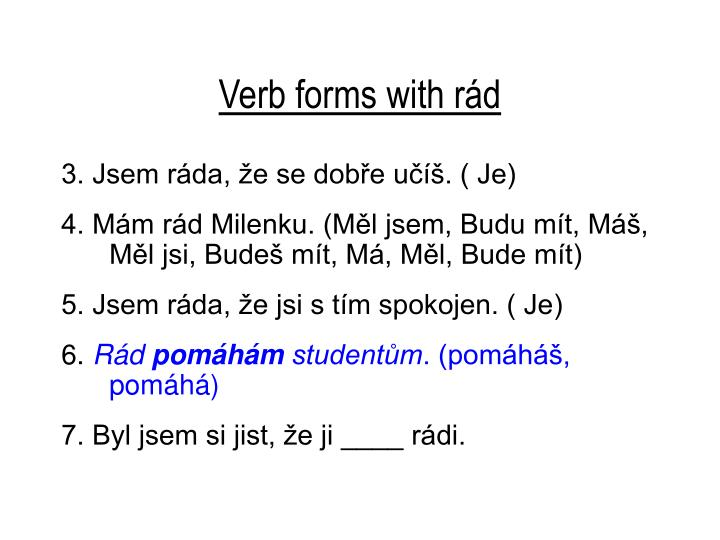 Verb forms with rád