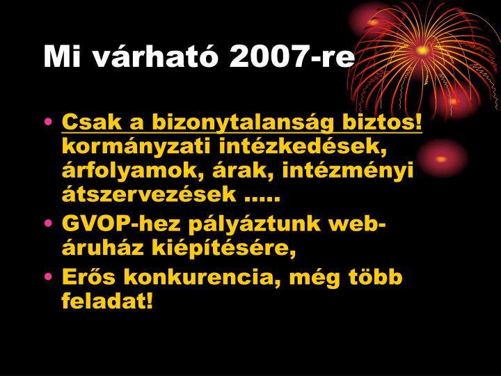 Mi várható 2007-re