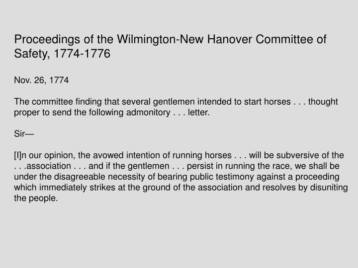 Proceedings of the Wilmington-New Hanover Committee of Safety, 1774-1776