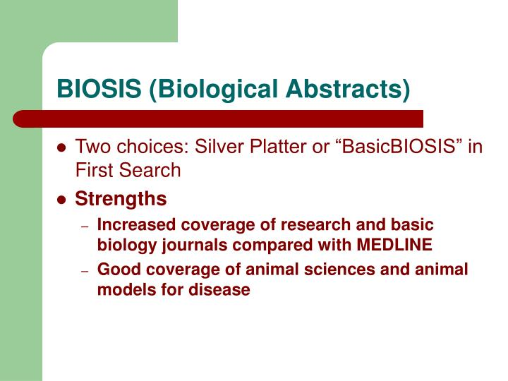 BIOSIS (Biological Abstracts)