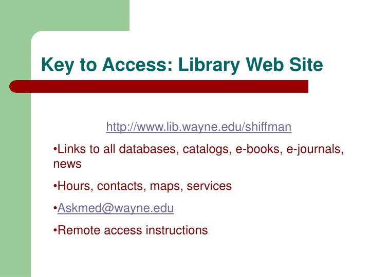 Key to access library web site