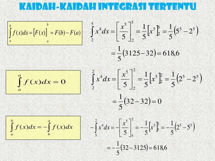 KAIDAH-KAIDAH INTEGRASI TERTENTU