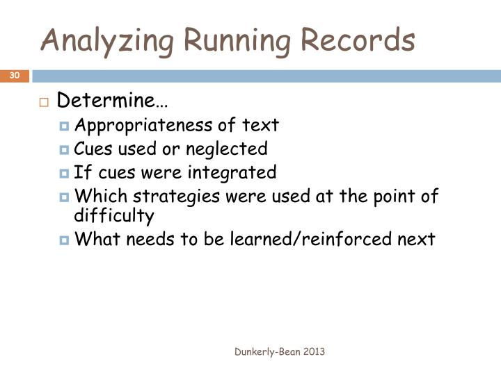 Analyzing Running Records
