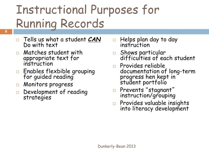 Instructional Purposes for Running Records
