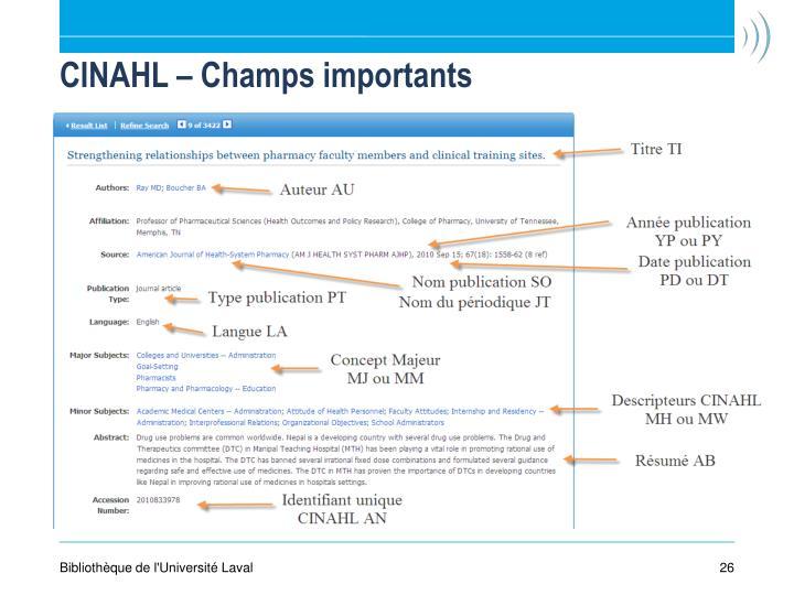 CINAHL – Champs importants