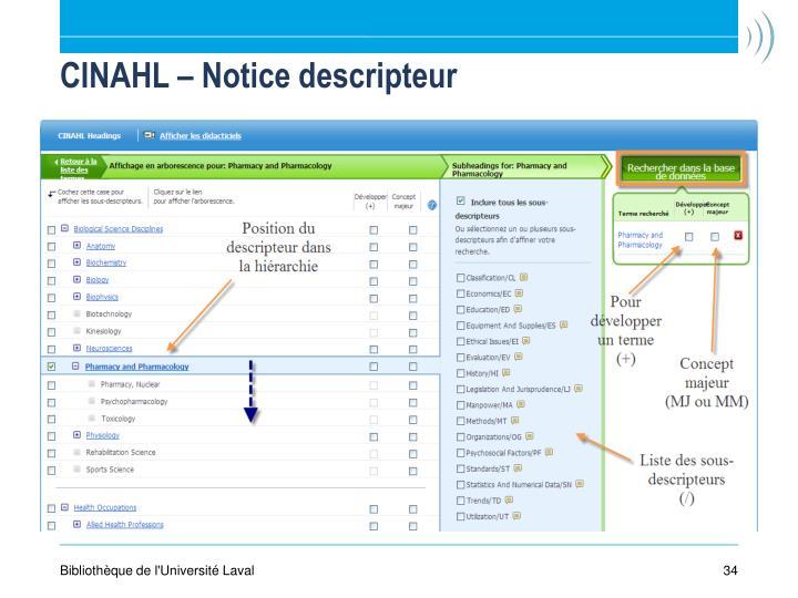 CINAHL – Notice descripteur