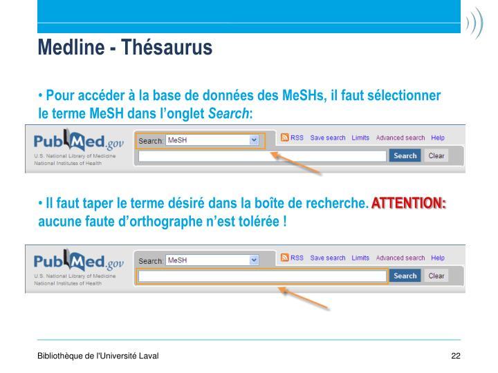 Medline - Thésaurus