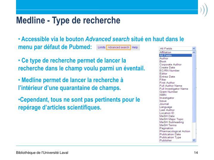 Medline - Type de recherche