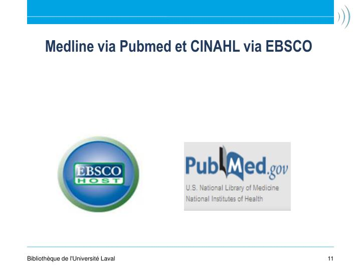 Medline via Pubmed et CINAHL via EBSCO